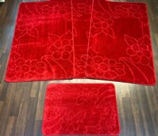 ROMANY GYPSY WASHABLES NEW CARVED DESIGN SETS OF 4 RED MATS/RUGS TRAVELLERS